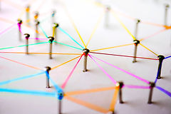 Linking entities. Networking, social media, SNS, internet communication abstract. devices