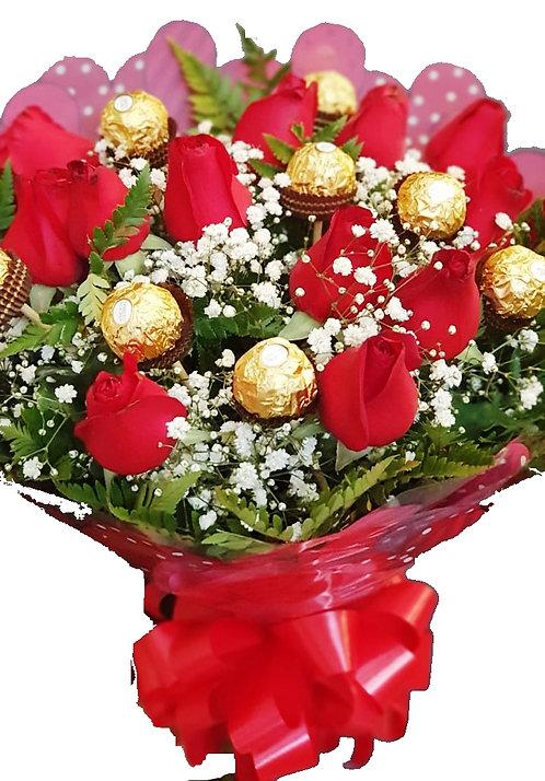 Buquê de Rosas com Chocolate Ferrero