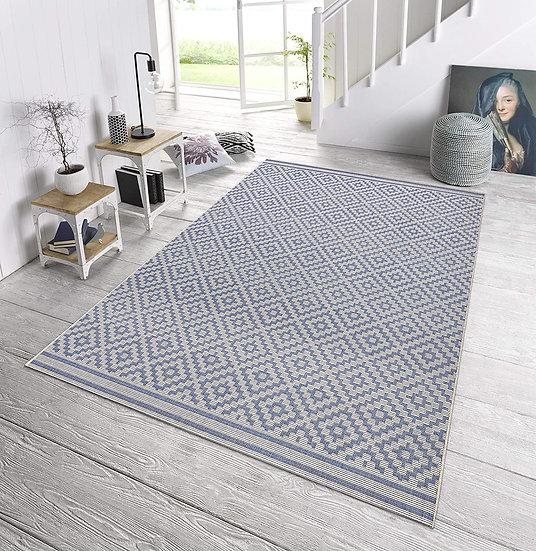 Bougari Indoor & Outdoor Carpet Diamond Blue Cream 102464
