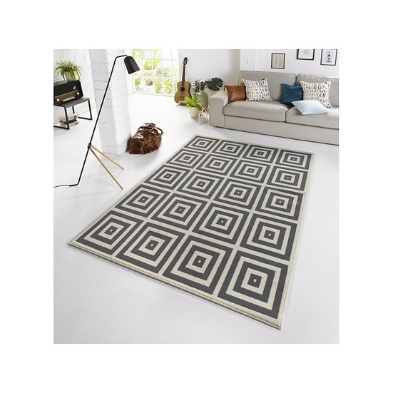 Zala Living Designer Velor Carpet Mono Gray Cream 102547