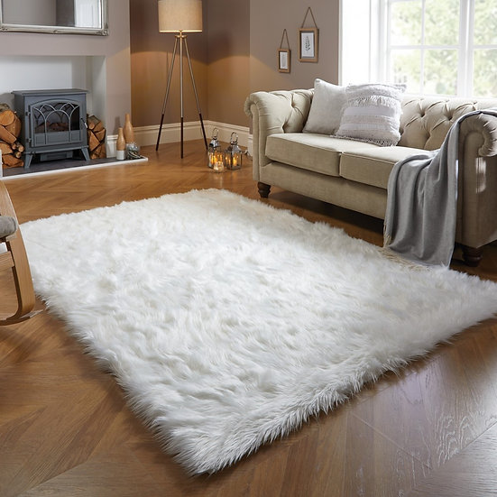Flair Rugs Faux Fur Sheepskin Ivory