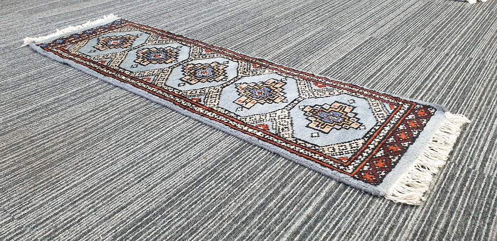 Vintage Wool Pre-Owned Rugs Pakistani Bukhara Blue Orange 32 x 107