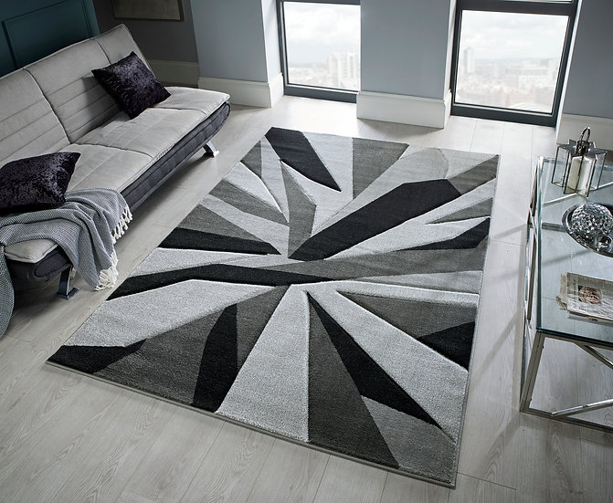 Flair Rugs Simplicity Hand Carved Shatter Black/Grey