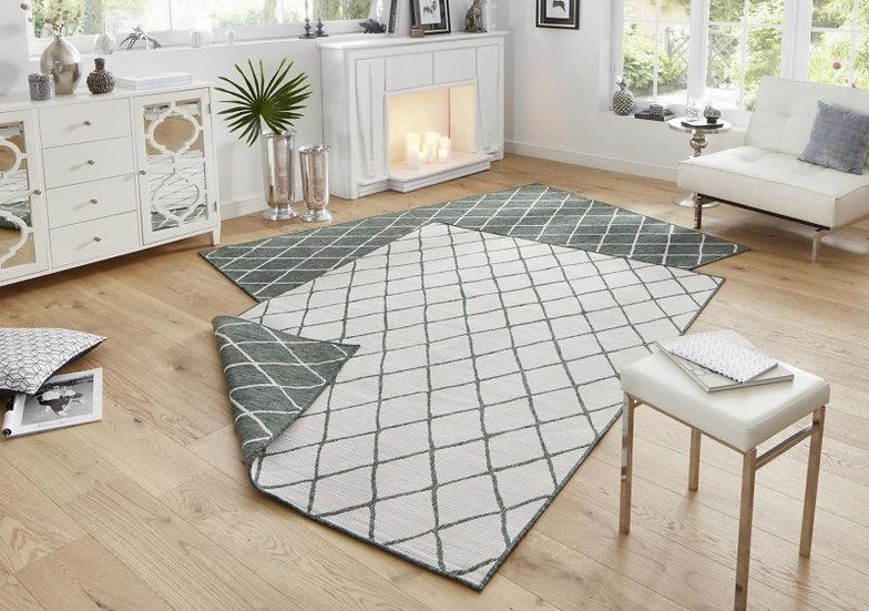 Bougari Reversible Carpet Malaga Green Cream Indoor & Outdoor 103117