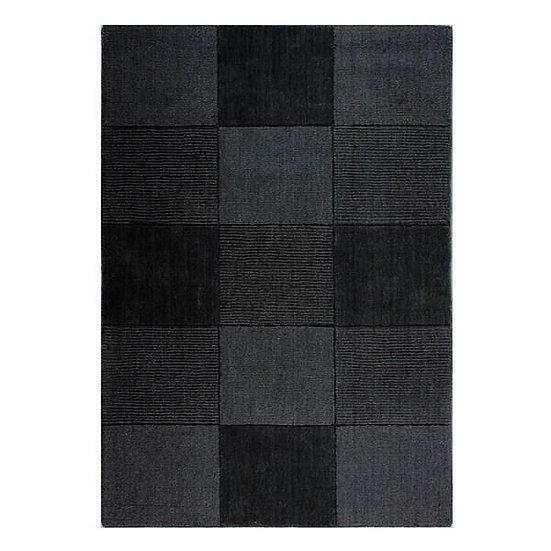 Flair Rugs Simplicity Wool Squares Black