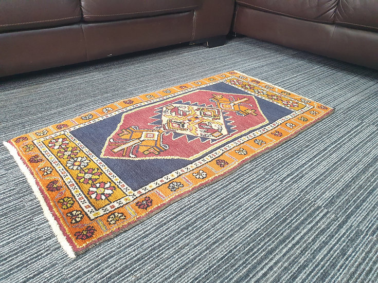 Vintage Wool Pre-Owned Rugs Turkish Milas 50 x 100 cm