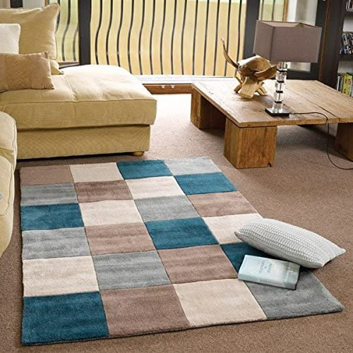 Flair Rugs Infinite Inspire Squared Teal/Duck Egg