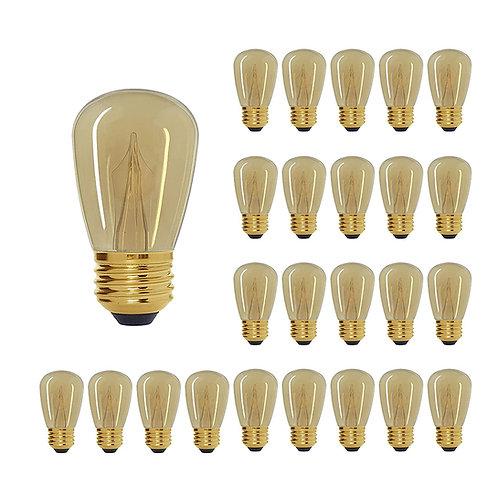S14 Medium Base Amber LED Decorative Bulb with Shine Line Light Bar, 1W, 2200K