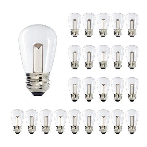 S14 Medium Base Clear LED Decorative Bulb with Light Bar, 1W, 2400K
