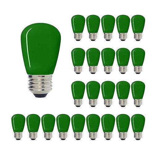 S14 Medium Base LED Decorative Bulb with Internal Green Coating, 1W