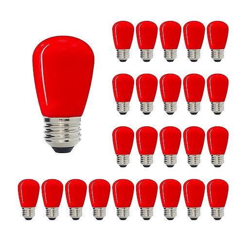 S14 Medium Base LED Decorative Bulb with Internal Red Coating, 1W