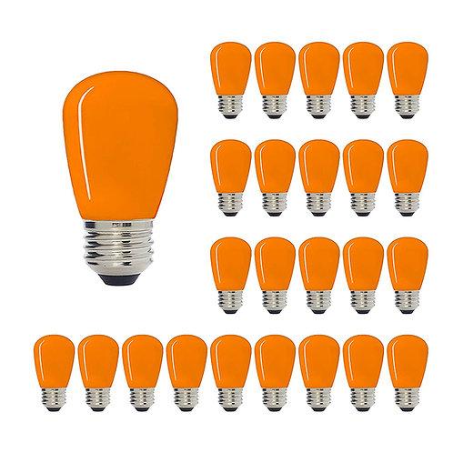 S14 Medium Base LED Decorative Bulb with Internal Orange Coating, 1W