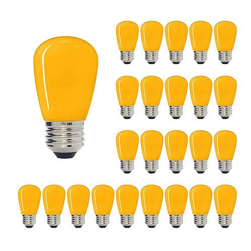 S14 Medium Base LED Decorative Bulb with Internal Yellow Coating, 1W