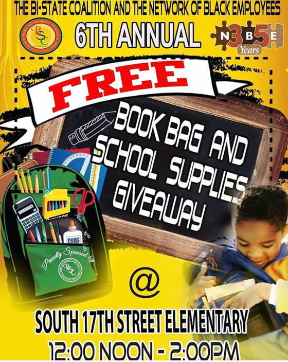 6th annual book bag giveaway at South 17th Elementary school!