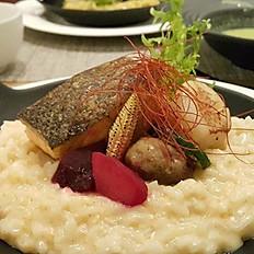 干貝鮭魚明太子奶油燉飯