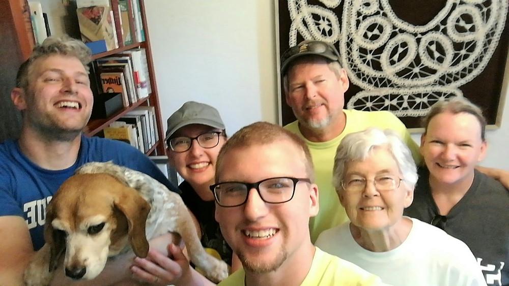 L to R: Husband Ben, Doggie Blair, Brother Lincoln, Dad, Grandma, Mom
