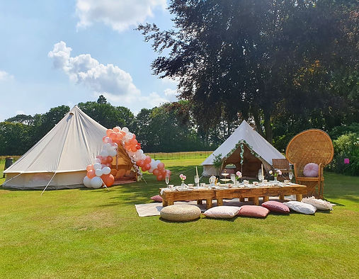 Bell tent and picnic party