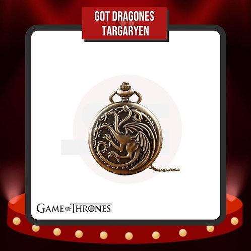 Reloj de Bolsillo Dragones Targaryen Cerrado de GoT