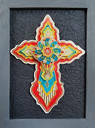 Painted Cross by Karen Austin. Mixed media framed cross.