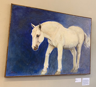 Blue by Risa Phelps. White horse painted on dark blue background.