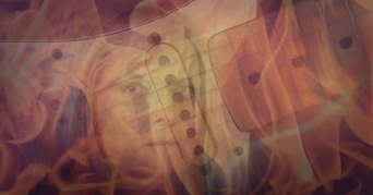 Another Year by Donna H Keyes. Guitar superimposed with woman's face.