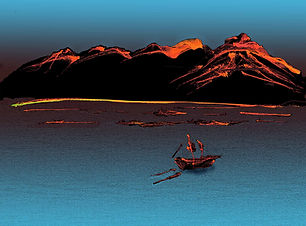 Digital painting of mountains and boat on water