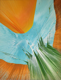 Abstract drip art - water through a canyon with trees