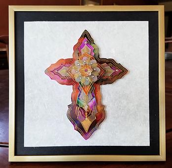 Tribal Elegance by Karen Austin. Mixed media framed cross.