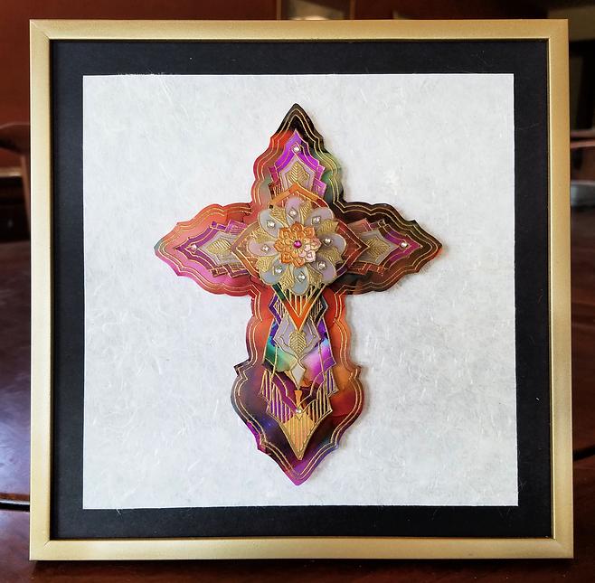 Tribal Elegance by Karen Austin. Mixed media 3D cross