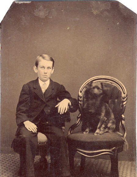 """""""Boy and Dog"""" Tintype (included) was given to the first round of artists as a start to the aesthetic conversation. Artists took this inspiration to submit work. The next round of artists would receive work from the previous round of submissions for their inspiration, hence the artistic tag or telephone format for the """"Keeping the Flame Alive"""" digital exhibit."""