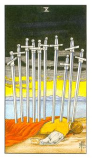 10 de Espadas como Arcano do Dia