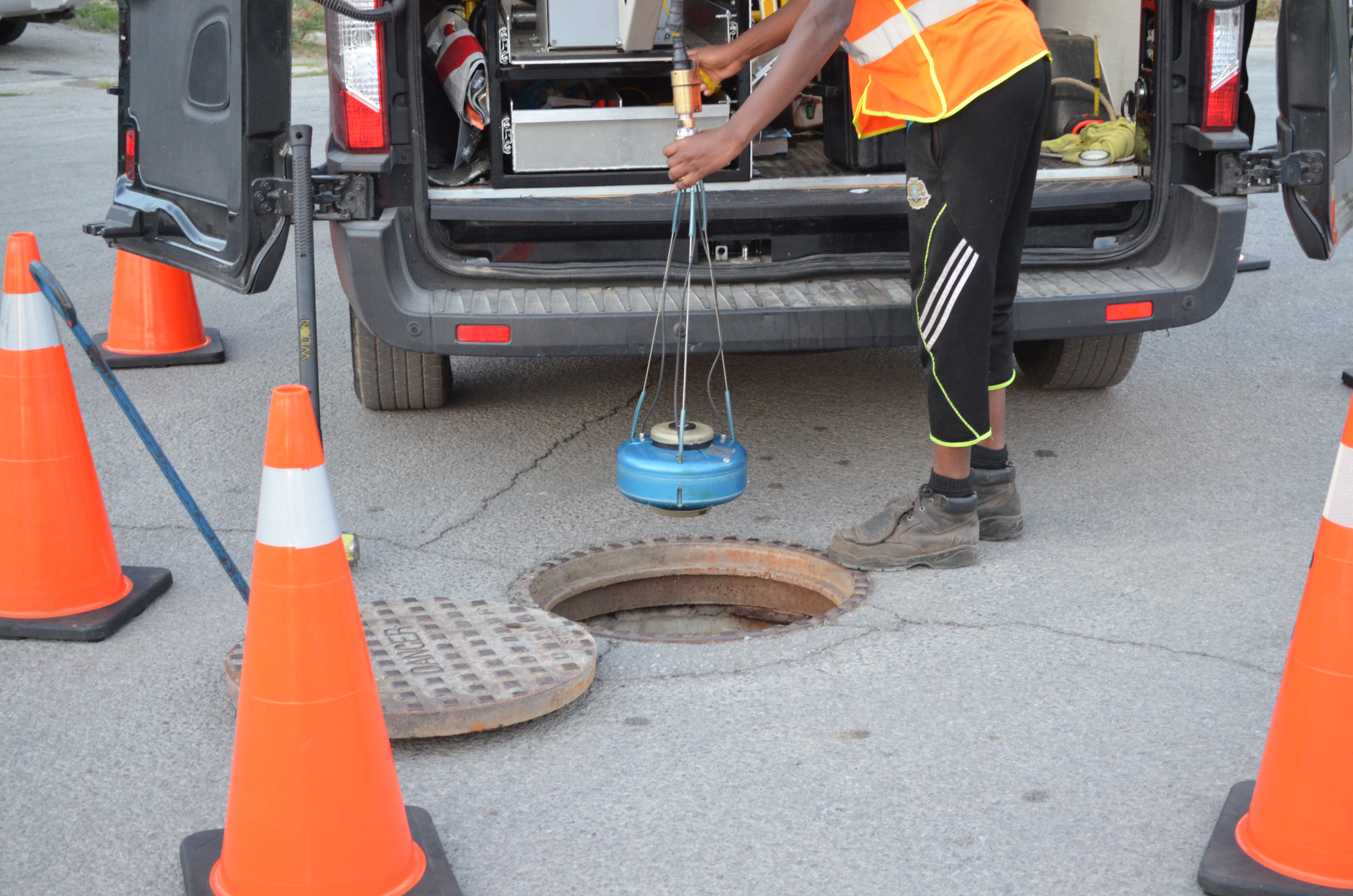 inspecting a manhole