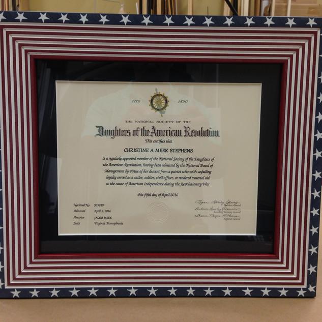 D. A. R. Certificate