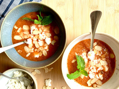 Cold watermelon, cucumber & feta soup - August Soup of the Month