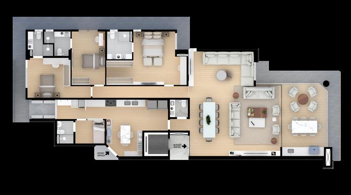 Apartamento Ampliado - 180,00m²
