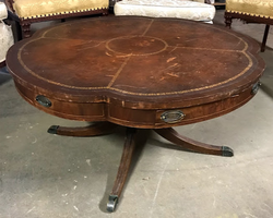 brown-leather-top-drum-sofa-table