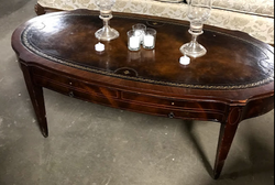 brown-oval-leather-top-sofa-table