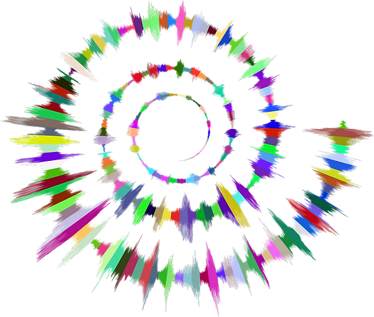 soundwave in a spiral shape and rainbow colored