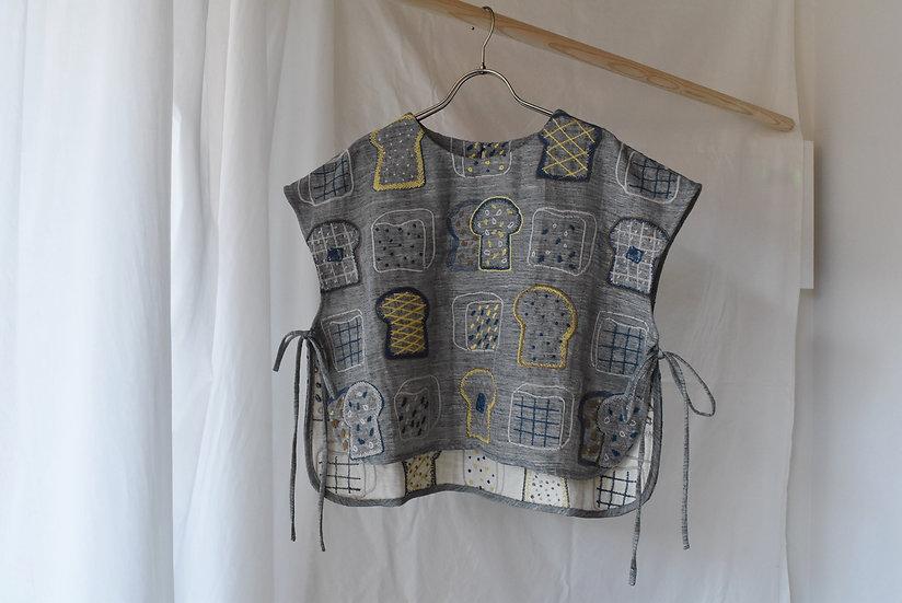 Ribbon vest / cotton linen cupra