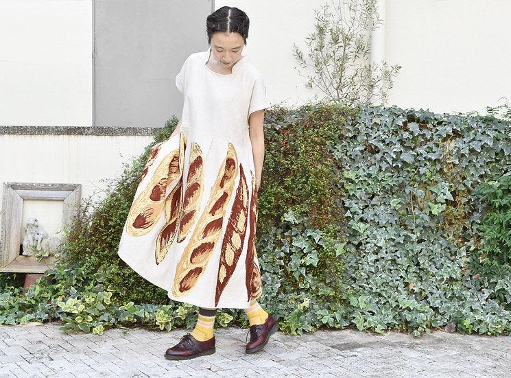 無地切替 french sleeve one-piece / baguette (麻レーヨン)