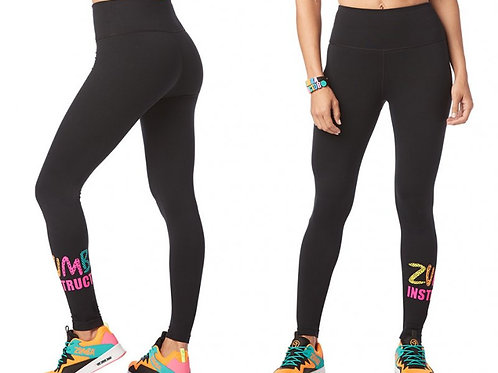 Zumba INSTRUCTOR High Waisted Ankle Leggings - Bold Black