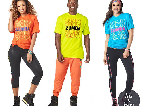 ONE SIZE FITS MOST Zumba Forever Party T-Shirt - Orange, Zumba Green or Blue!