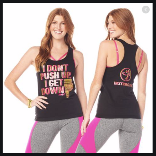 Zumba Get Down Instructor Ribbed Tank -- Black
