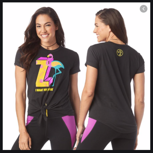 I Want My Zumba Tie Front Top -- Black