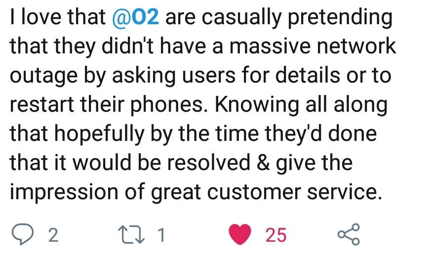 O2 network failure tweet