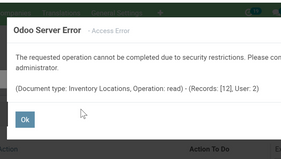Odoo Error - The requested operation cannot be completed due to security restriction.