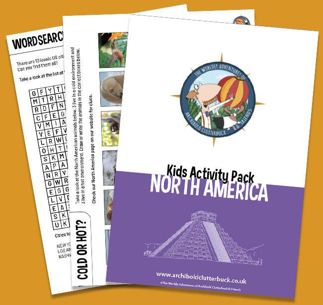 Free kids geography activity pack on North America