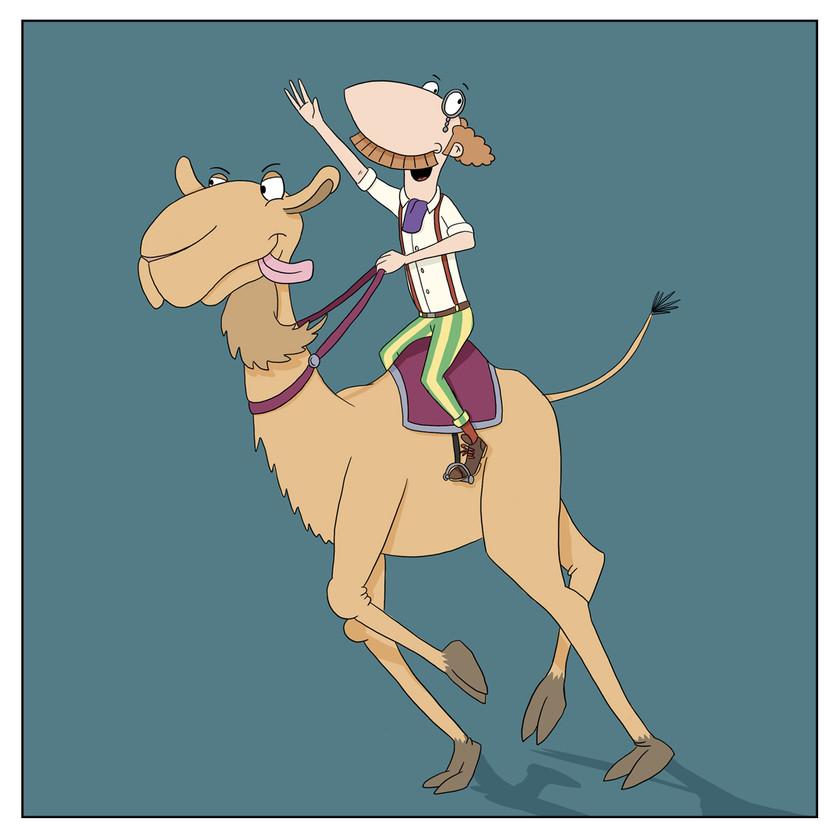 Archibold Clutterbuck riding a Dromedary Camel