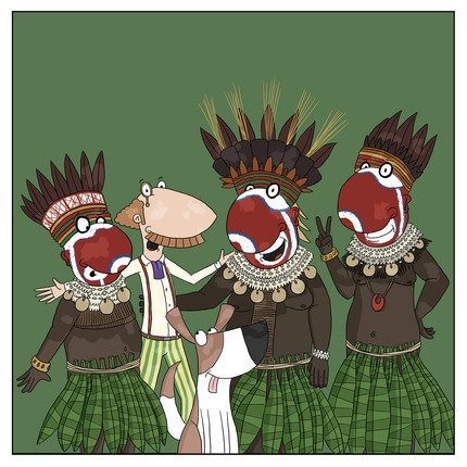 Papuan tribe in traditional costume