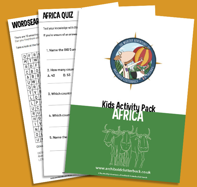 Free kids activity pack on Africa